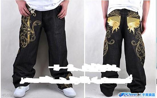 hiphop 嘻哈牛仔裤 街舞ecko 彩绘胶印狮子图案宽松滑板裤子牛仔裤 $