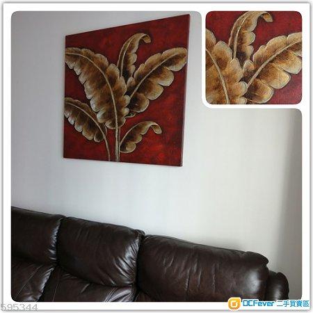 全新东南亚风格金萡芭蕉叶油画