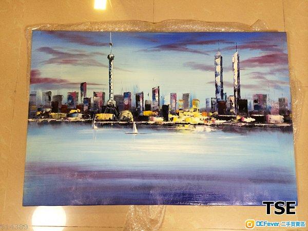 出让油画一幅(上海海景) 抽象画 90x60x2 (长*阔*厚)售