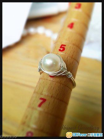10mm 白珍珠同银线造嘅戒指