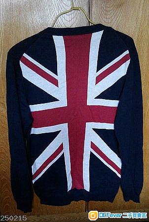 英国旗深蓝色薄身冷衫